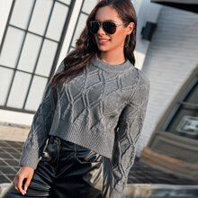 Solid Drop Shoulder Crop Sweater