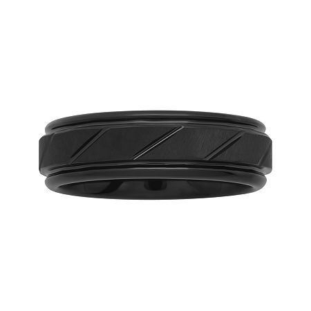 Personalized Mens 7mm Comfort Fit Black Tungsten Carbide Diagonal Groove Wedding Band, 12 1/2 , No Color Family