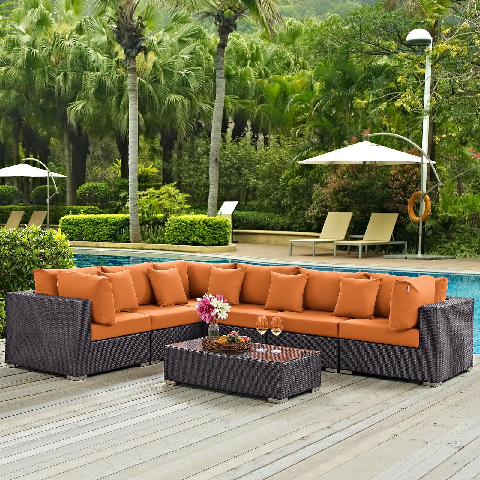 Convene 7 Piece Outdoor Patio Sectional Set in Expresso Orange