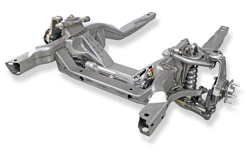 Detroit Speed 032019-R Hydroformed Subframe -1970-1981 Camaro/Firebird - With Powder Coated Components - SBCLSX Double Adjustable Shocks Remote Canist