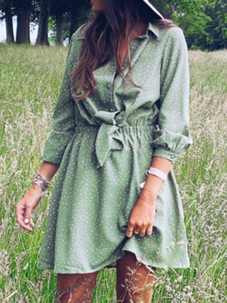 Milanoo Vestido camisero de mujer verde con cuello vuelto, botones de lunares, manga larga, nudo de lazo, vestido midi de poliester