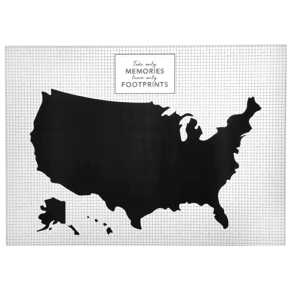 Wandsticker Vereinigte Staaten, schwarz und weiss