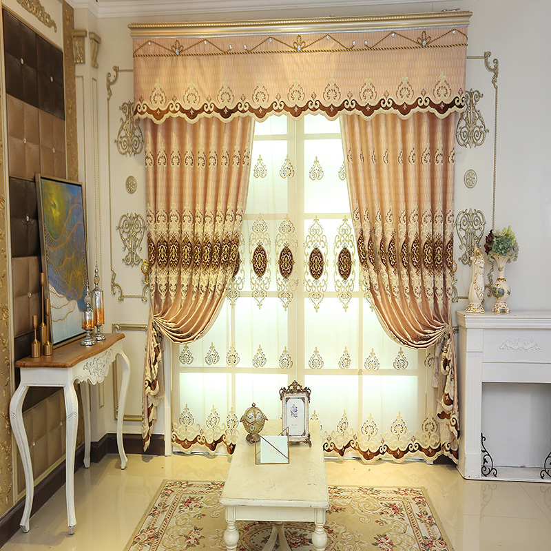 Embroidery Drapes Grommet Tops Curtain 2 Panels for Living Room