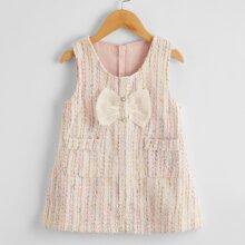 Toddler Girls Bow Front Zip Back Tweed Dress