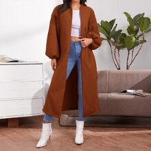 Drop Shoulder Lantern Sleeve Split Hem Coat