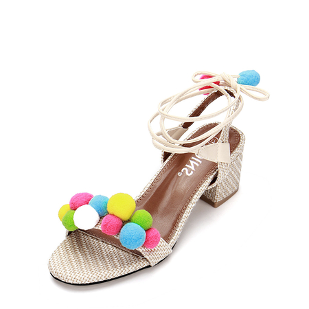 Yoins Apricot Woven Strap Across With Pompoms Lace-up Heeled Sandals