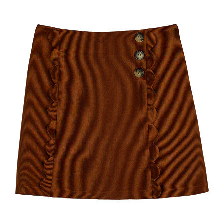 by&by girl Corduroy Big Girls A-Line Skirt, Large (14) , Brown