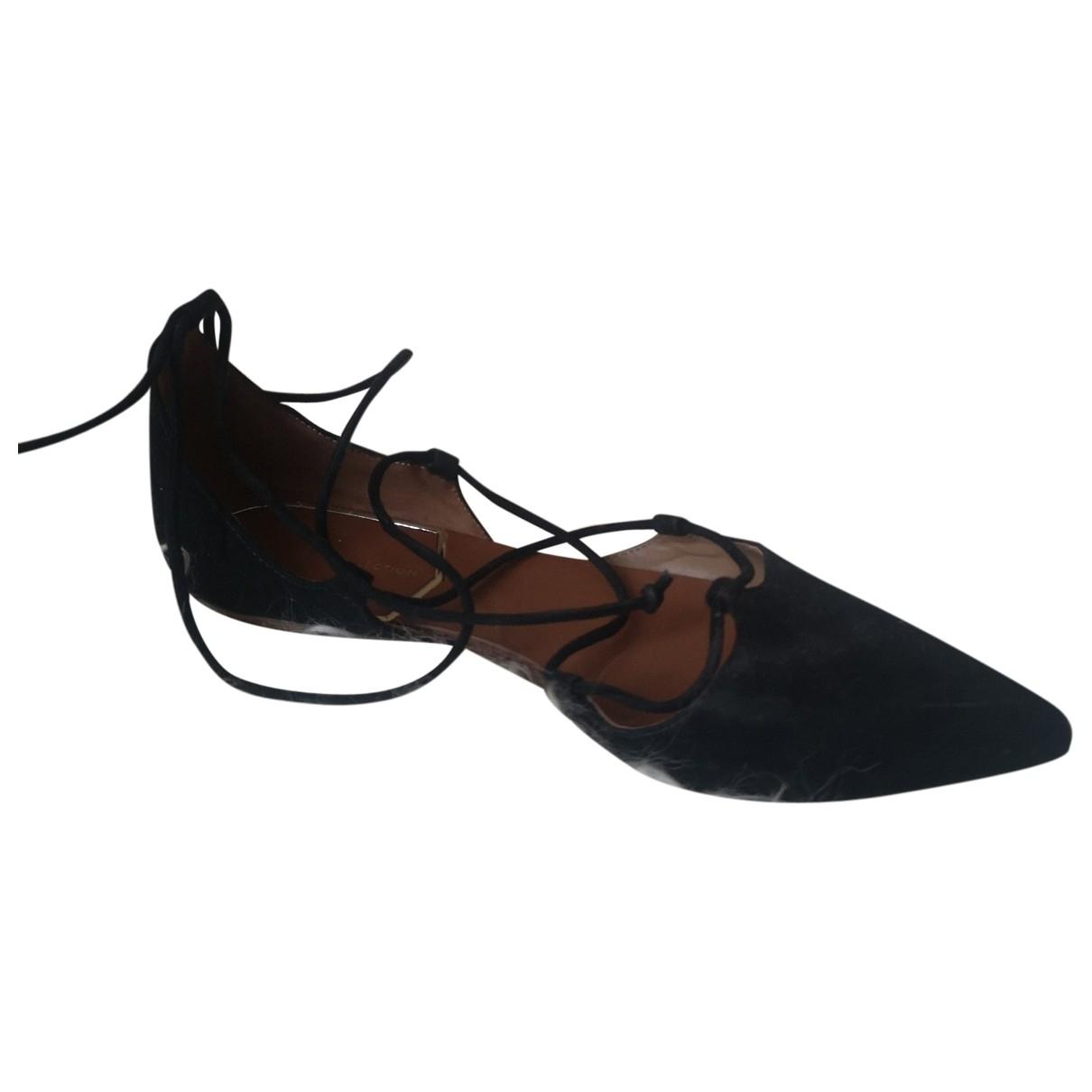 Zara - Ballerines   pour femme en cuir - noir