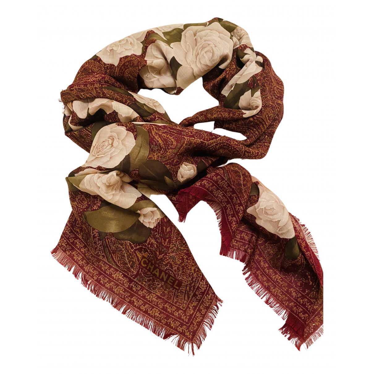 Chanel - Foulard   pour femme en laine - bordeaux