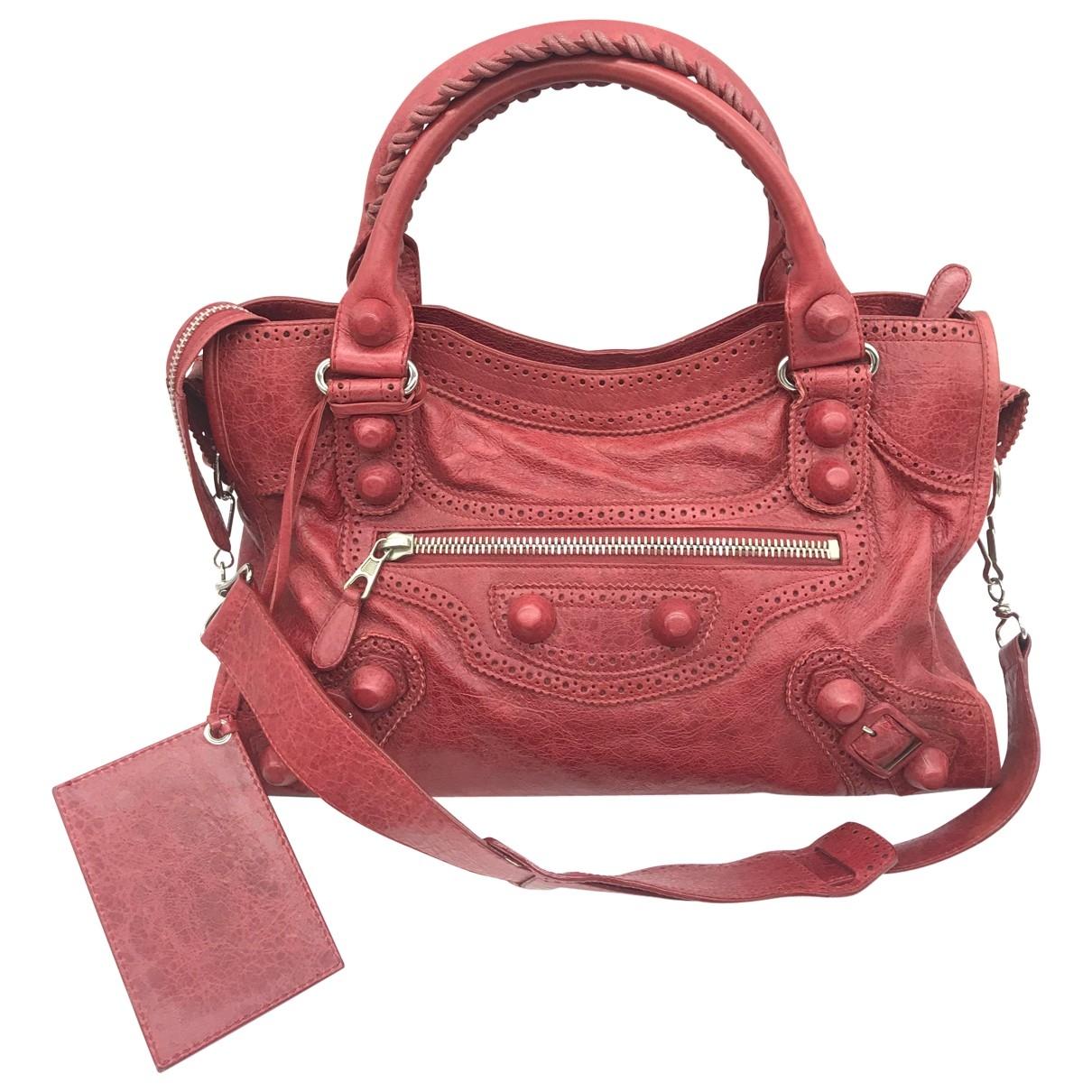 Balenciaga City Handtasche in  Rot Leder