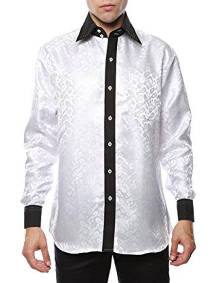 Mens Dress Shirt Flashy Stage White Black Two Toned Woven Casual