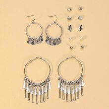 7 Paare bohmische Ohrringe mit Quasten Dekor