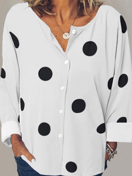 Yoins Polka Dot Button Design Long Sleeves Blouse