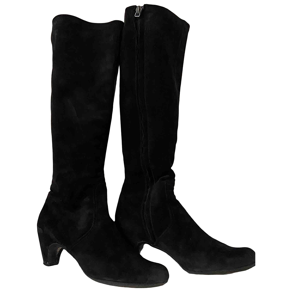 Non Signé / Unsigned N Black Suede Boots for Women 38 EU