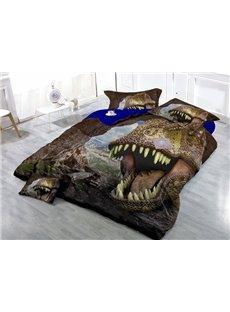 Unique Imperial Print Dinosaur Wear-resistant Breathable High Quality 60s Cotton 4-Piece 3D Bedding Sets