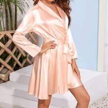 Solid Belted Satin Robe