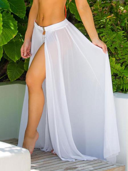 Milanoo Women Sarong Cover Up Chiffon Split Semi Sheer Maxi Skirt