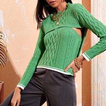 Pullover mit Stufensaum und Zopfmuster & Tube Top