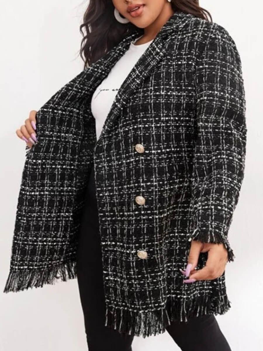 LW Lovely Trendy Grid Print Tassel Design Black Trench Coat