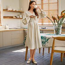 Drop Shoulder Fold Pleated Solid Dress