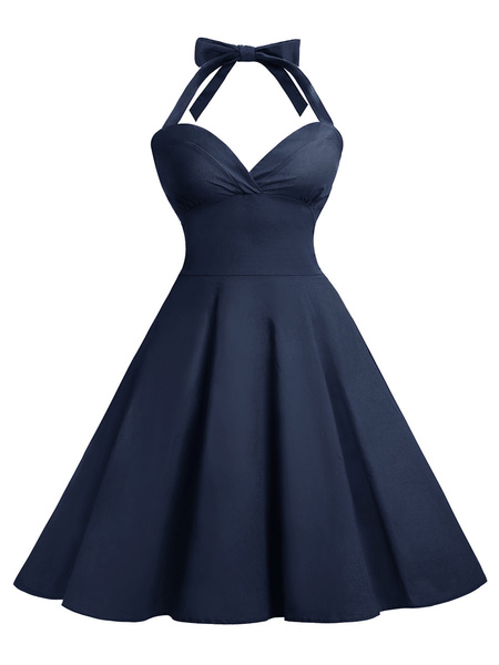 Milanoo Retro Dress 1950s Straps Neck Sleeveless Woman Rockabilly Dress