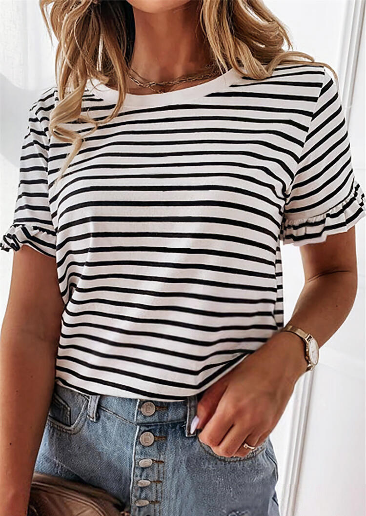 Striped Ruffled O-Neck T-Shirt Tee without Necklace - Black