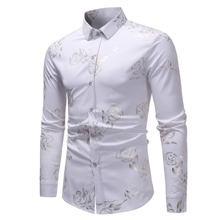 Jacquard Shirt mit Rose Muster und Knopfen