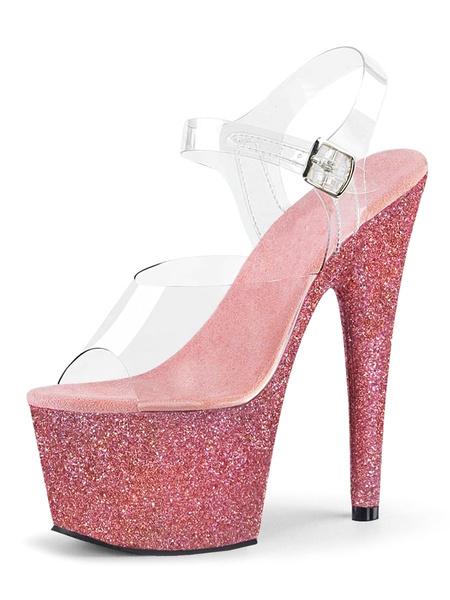 Milanoo High Heel Sexy Sandals Burgundy PU Leather Peep Toe Monk Strap Sexy Stiletto Shoes