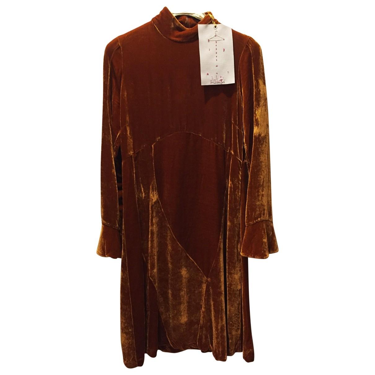 Non Signé / Unsigned \N Khaki Velvet dress for Women XS International