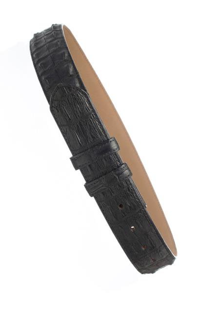 Black Men's Genuine Hornback Crocodile Skin 1 1/2'' width Belt