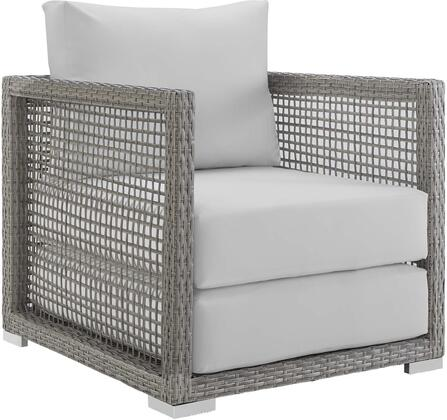 Aura Collection EEI-2918-GRY-WHI Outdoor Patio Armchair with Grey Synthetic Wicker Rattan  Powder Coated Aluminum Frame  Washable Cushion Covers