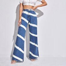 Striped Print Flare Leg Jeans