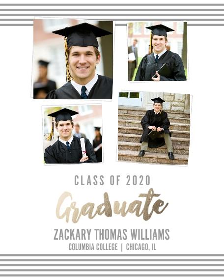 Graduation 16x20 Poster(s), Board, Home Décor -Collegiate Stripes Graduate