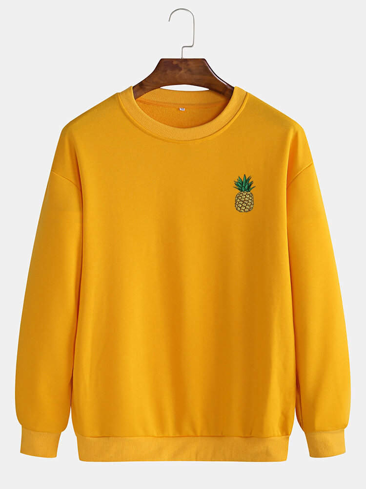 Mens Casual Loose Solid Color Pullover Sweatshirts With Cartoon Pineapple