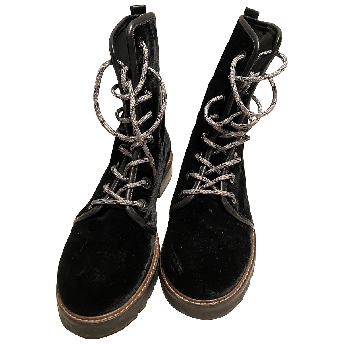 Stuart Weitzman - Boots   pour femme en velours - noir