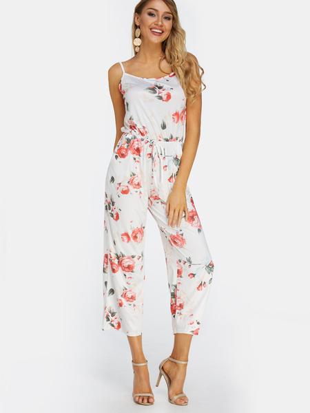 Yoins White Backless Design Radndom Floral Print Drawstring Waist Jumpsuit