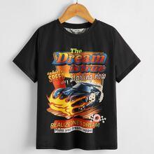T-Shirt mit Buchstaben & Auto Muster