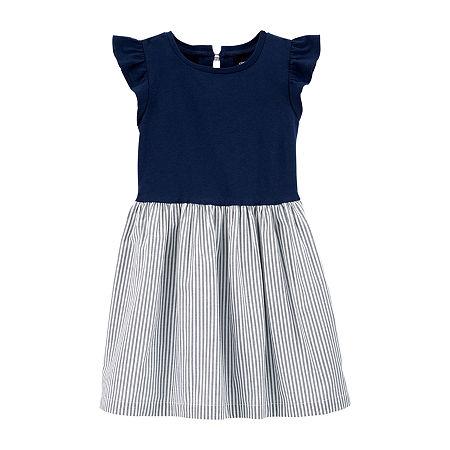 Carter's Toddler Girls Flutter Sleeve Shift Dress, 4t , Blue