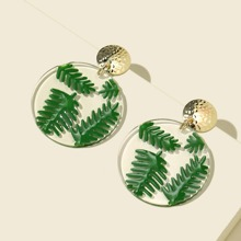 Runde Ohrringe mit Blatt Design