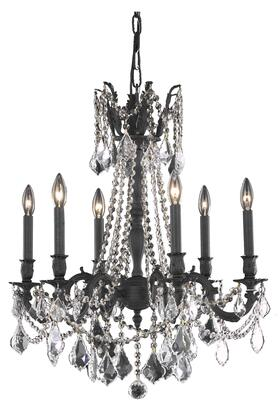 9206D23DB/SS 9206 Rosalia Collection Hanging Fixture D23in H26in Lt: 6 Dark Bronze Finish (Swarovski Strass/Elements