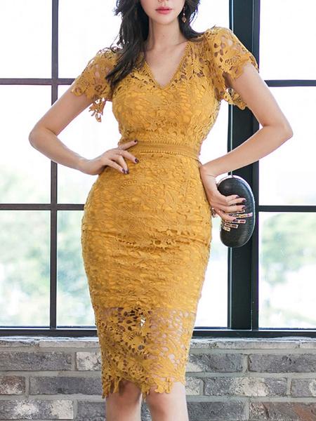 Milanoo Vestidos ajustados de manga corta amarillos con cuello en V clasico Vestido tubo transparente Vestido tubo
