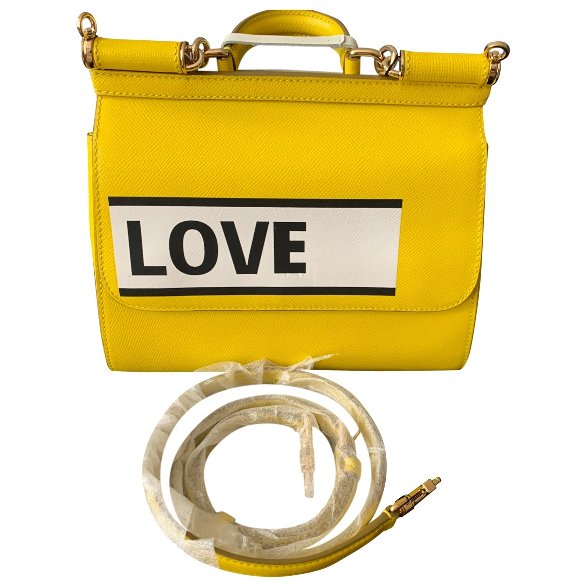 Dolce & Gabbana Sicily Yellow Leather handbag for Women \N