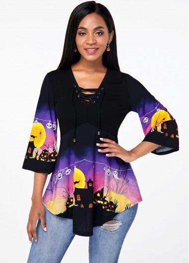 Halloween Pumpkin Lace Up Asymmetric Hem T Shirt - XS