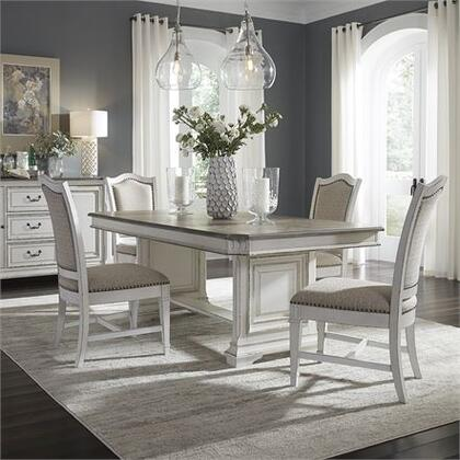 Abbey Park Collection 520-DR-5TRS 5PC Trestle Table Set with Nail Head Trim  Fluted Legs and Nylon Chair Glides in Antique White