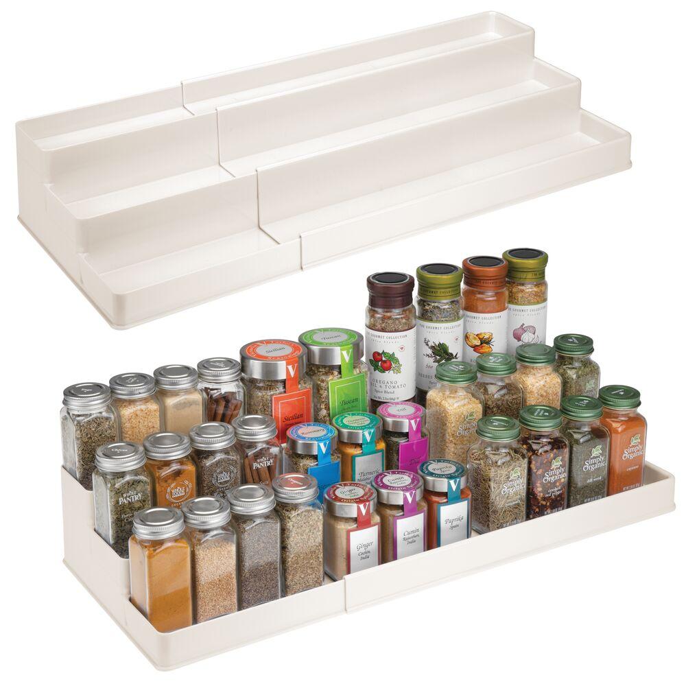 3 Tier Plastic Expandable Kitchen Spice Rack Organizer in Cream, 16.75