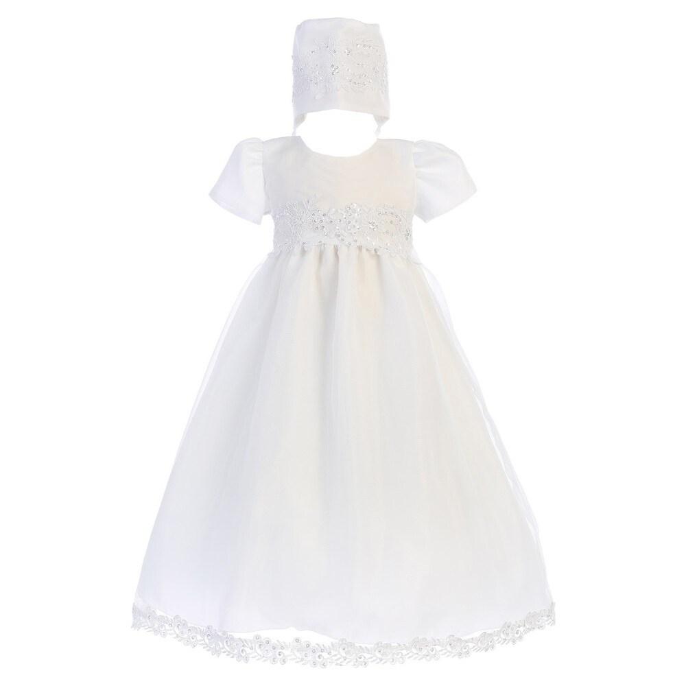 Baby Girls White Sequin Trim Organza Gown Bonnet Christening Set 0-18M (3-6 Months)