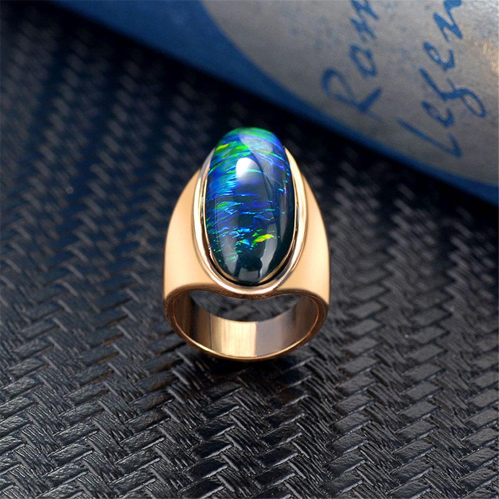 Vintage Gold Plated Large Gemstone Rings Geometric Elipse Irregular Gradient Finger Rings