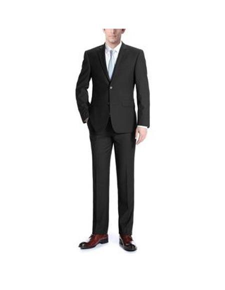 Verno Adessi Mens Black Notch Lapel Slim Fit  Suit