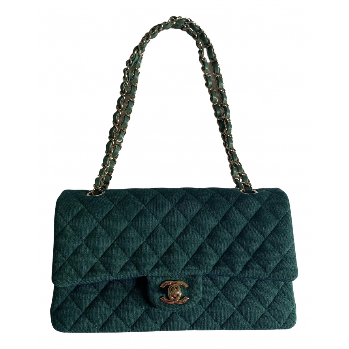 Chanel Timeless/Classique Handtasche in  Gruen Leinen