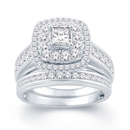 Modern Bride Signature Womens 2 CT. T.W. Genuine White Diamond 14K Gold Bridal Set, 6 1/2 , No Color Family